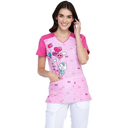 Mujer - Cherokee Tooniforms Hello Kitty Flower Shop V-Neck Print Scrub Top ( Copy ) ( Copy )